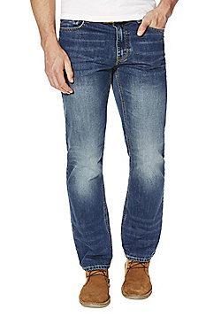 F&F Mid Wash Straight Leg Jeans with Belt - Mid wash