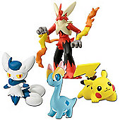 Pokemon XY 4 Figure Gift Pack - Blaziken & Meowstic & Female Pikachu & Amaura
