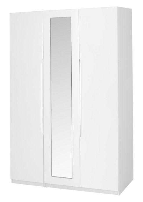 Alto Furniture Visualise Alpine Three Door Wardrobe in High Gloss White