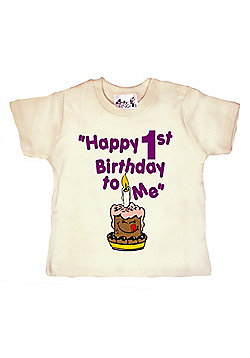 Dirty Fingers Happy 1st Birthday to Me Baby T-shirt - Cream