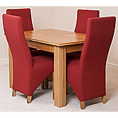 Hampton Solid Oak Extending 120 - 160 cm Dining Table with 4 Red Lola Fabric Chairs