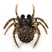 Stunning Amber Crystal Spider Stretch Cocktail Ring (Burn Silver Metal)
