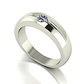9ct White Gold 5.0mm Round Brilliant Gents Ring