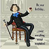 Holy Mackerel Greeting Card - Resist everything except temptation Birthday card