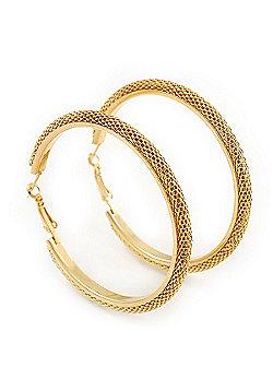 Large Mesh Hoop Earrings In Gold Plating - 65mm Diameter