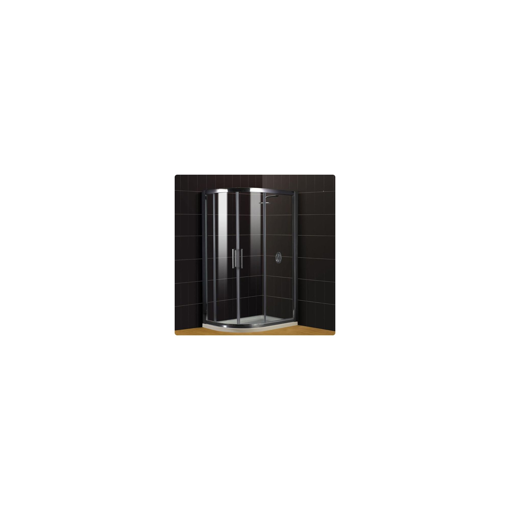 Duchy Supreme Silver Offset Quadrant Shower Enclosure (Complete with Tray) 900mm x 800mm, 8mm Glass at Tesco Direct