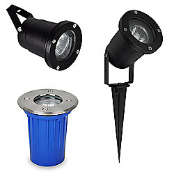 Berwick IP65 3 in 1 Outdoor Ground, Wall & Spike Light in Black Metal