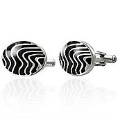 Urban Male Oval Stainless Steel & Black Resin Cufflinks