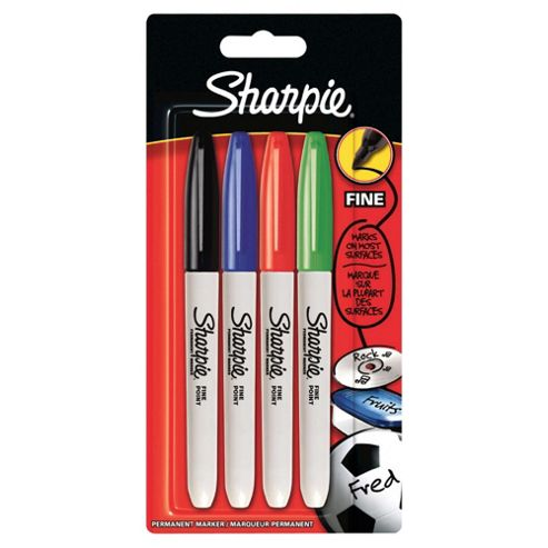 Sharpie Fine Permanent Markers, Assorted Colours, 4 Pack