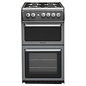 Hotpoint HAG51G Graphite Gas Cooker, Twin Cavity, Single Oven