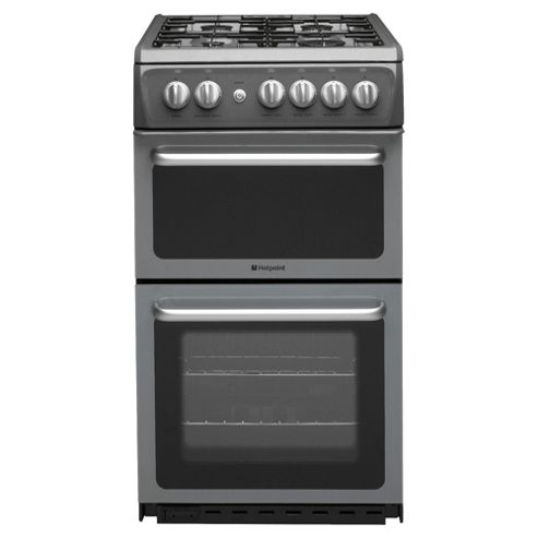 Hotpoint HAG51G, Graphite, Gas Cooker,  Single Oven, 50cm