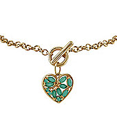 Gemondo 9ct Yellow Gold 0.66ct Emerald Heart Charm 19cm Bracelet