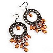 Bronze Filigree Citrine Bead Chandelier Hoop Earrings - 7.5cm Drop
