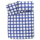 Tesco Basic Check Print Single Duvet Set - Blue