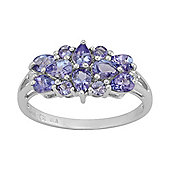 Gemondo Sterling Silver 1.30ct Natural Tanzanite & 1pt Diamond Classic Dress Ring