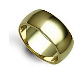 Jewelco London Bespoke Hand-Made 9 carat Yellow Gold 10mm Heavy Weight D-Shape Wedding / Commitment Ring,