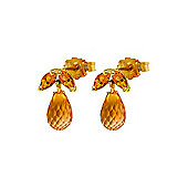 QP Jewellers 3.40ct Citrine Petite Galanthus Stud Earrings in 14K Gold