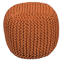 Kaikoo Chunky Knit Bean Bag Cube, Orange