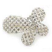 Bridal Wedding Prom Silver Tone Pearl Diamante 'Asymmetrical Butterfly' Barrette Hair Clip Grip - 60mm Across