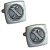 Antiqued Silver Plated Initial - X Cufflink - Single