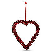 Red Cluster Bell Heart Shaped Hanging Decoration Large