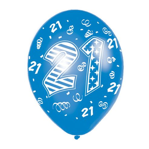 21st Birthday Latex Balloons - Blue Mix