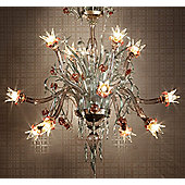 De Majo 8089 Chandelier - 200 cm H x 150 cm Dia - Gold Ruby with Gold Clear Decorations