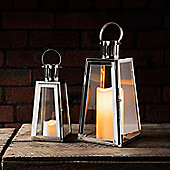 Set of 2 Stainless Steel Trapeze Battery LED Candle Lanterns