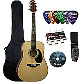 Acoustic Guitar Package Natural - Guitar, Bag, CD, Strap, Picks & Pitch Pipes