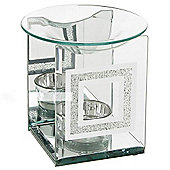 Crystal - Crystal Square Glass Oil Burner - Clear / Silver