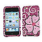 Premuim FunkGem (Pink Black) Shamrock Baby 2 Part Case & Screen Protector - Apple iPod Touch 4