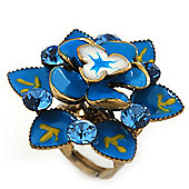 Sky Blue Crystal Enamel Cocktail Ring (Bronze Tone) - 3.5cm Diameter