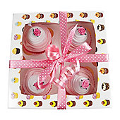 Box of Four Delicious Baby Sock Cupcakes - Pink