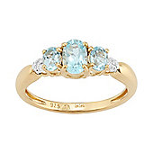 Gemondo Gold Plated Sterling Silver 0.85ct Natural Blue Topaz & Diamond Three Stone Ring