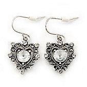 Vintage Inspired Diamante Filigree 'Heart' Drop Earrings In Antique Silver Tone - 30mm Length