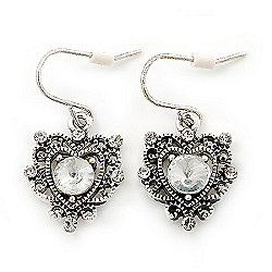 Vintage Inspired Diamante Filigree 'Heart' Drop Earrings In Antique Silver Tone - 30mm Length