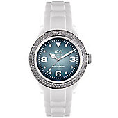 Ice-Watch Ladies Stone Set White Rubber Strap Watch IB-ST-WSH-U-S