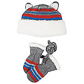 Bunting Infant Hat and Mitten Set - Blue