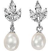 Silver Inspiration CZ Pearl Earrings