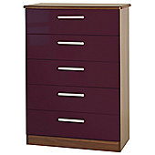 Welcome Furniture Knightsbridge 5 Drawer Chest - Oak - Aubergine