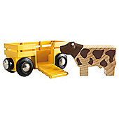 Brio Cow & Wagon, wooden toy