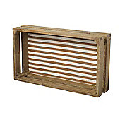 Parlane Wooden Shelf Crate with Stripped inside - 29.5 x 52cm