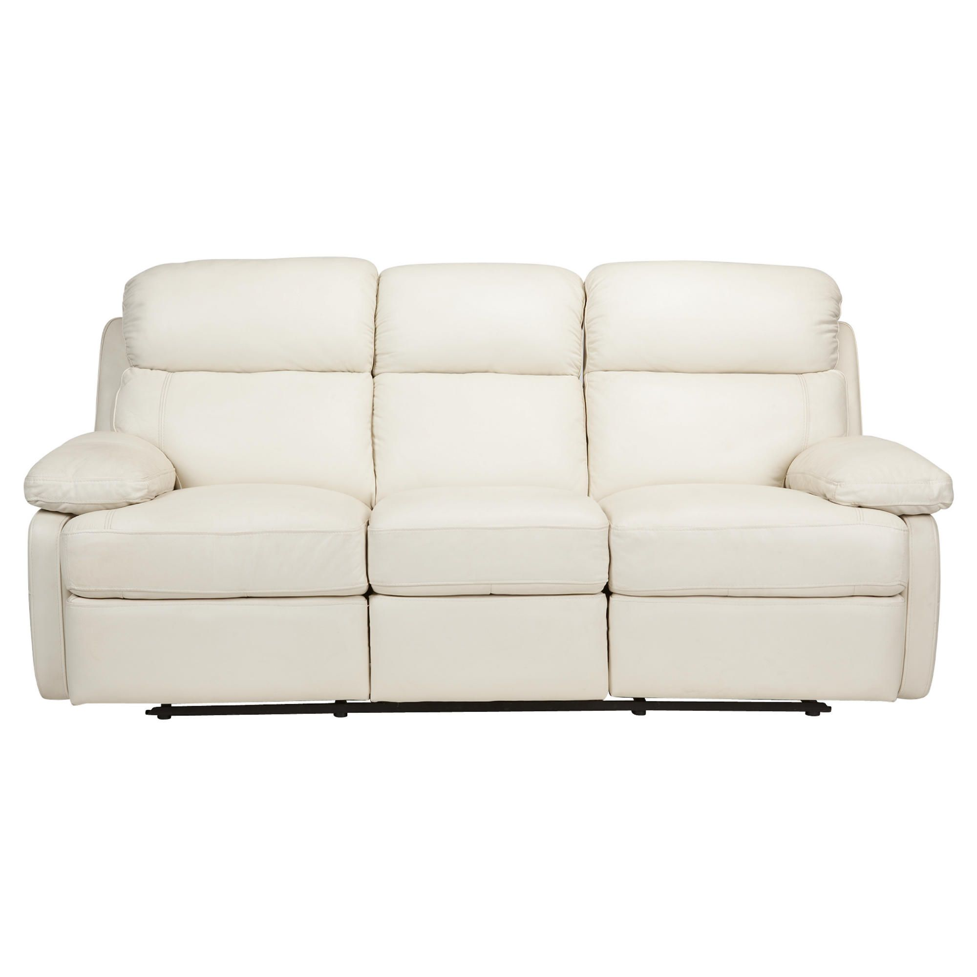 Cordova Leather Large Recliner Sofa Ivory at Tesco Direct