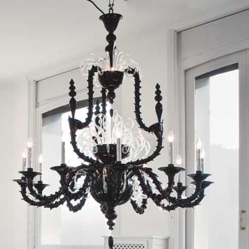 De Majo Vivaldi Twelve Light Chandelier - Black / Clear Glass - (12) 60W E14LED - olive