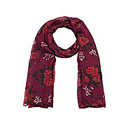 Vintage Rose Branch Print Long Scarf