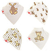 Zippy Boxed Gift Set of 4 Fun Bandana Dribble Bibs - Cute Cream