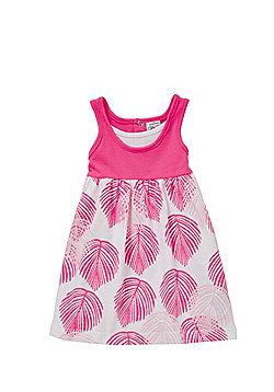 Charlie & Me Leaf Print Dress - Pink & White