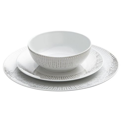 buy raine 12 piece dinner set white silver from our dinner. Black Bedroom Furniture Sets. Home Design Ideas