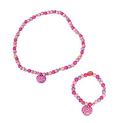 Tatiri Heart Bracelet and Necklace (Dark Pink Bead)