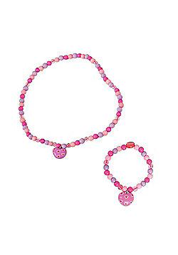 Tatiri Heart Bracelet and Necklace (Dark Pink Bead)